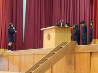総体壮行会 生徒会長から激励の言葉