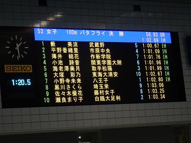 女子100mバタフライ決勝